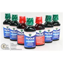 LOT OF 7 BOTTLES OF ASSORTED NYQUIL