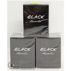LOT OF 3 KENNETH COLE BLACK EAU DE TOILETTE 30ML
