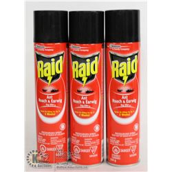 LOT OF 3 RAID ANT ROACH & EARWIG BUGKILLER