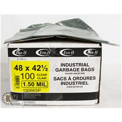 CASE OF 100 CLEAR 48X42.5 GARBAGE BAGS