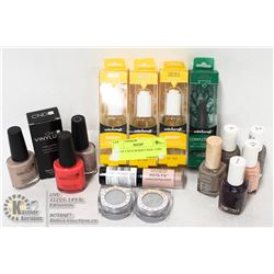 LOT OF ASSORTED NAIL POLISH, NAIL PRODUCTS &
