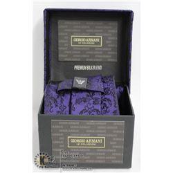 REPLICA GIORGIO ARMANI BLACK & PURPLE TIE WITH BOX