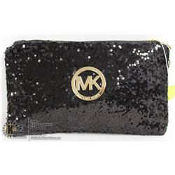REPLICA MICHAEL KORS BLACK SEQUINED MAKE UP BAG.