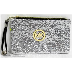 REPLICA MICHAEL KORS SILVER SEQUINED MAKE UP BAG.