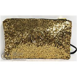 REPLICA MICHAEL KORS GOLD SEQUINED MAKE UP BAG