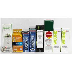 BAG OF ASSORTED FIRST AID CREAMS & SPRAYS