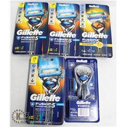 BAG OF 5 GILLETTE FUSION PROSHIELD & PROGLIDE 5