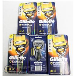 BAG OF 5 GILLETTE FUSION PROSHIELD 5 RAZORS