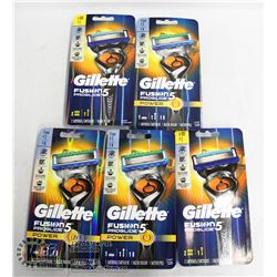BAG OF 5 GILLETTE FUSION PROGLIDE 5 RAZORS