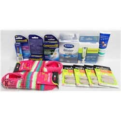 BAG OF ASSORTED FOOT CARE ITEMS