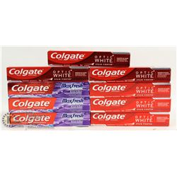 BAG OF COLGATE OPTIC WHITE & MAX FRESH TOOTHPASTE