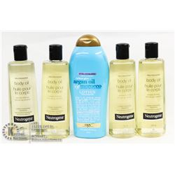 BAG OF NEUTROGENA BODY OIL AND ARGAN OIL LOTION