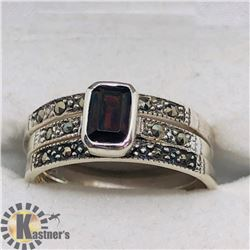 SET OF 3 SILVER GARNET MARCASITE RINGS