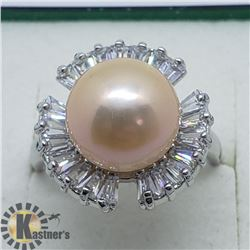 SILVER PEARL CUBIC ZIRCONIA  RING