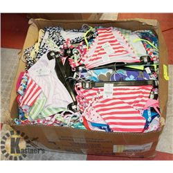 BOX OF ASSORTED WOMENS BIKNI TOPS AND BOTTOMS