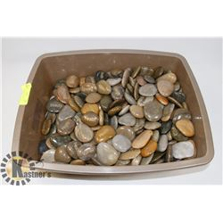 TUB OF ASSORTED ENGRAVED POLISHED STONES.