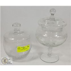 PAIR OF GLASS CANDY JARS