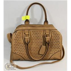 BROWN FAUX LACE STYLE HANDBAG/PURSE
