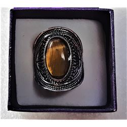 5)  SILVER TONE & NATURAL OVAL TIGERS EYE