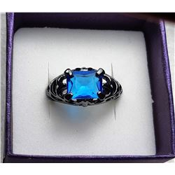 4)  BLACK 18K  GOLD FILLED SAPPHIRE RING
