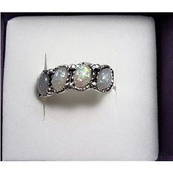 6)  SILVER TONE & WHITE FIRE OPAL RING