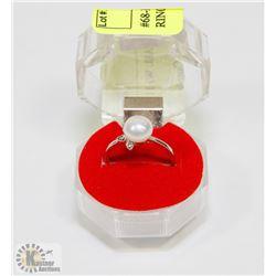 #68-FRESH WATER PEARL WHITE  RING