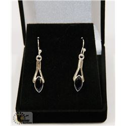#96-BLUE CUBIC ZIRCONIA  DANGLING EARRINGS