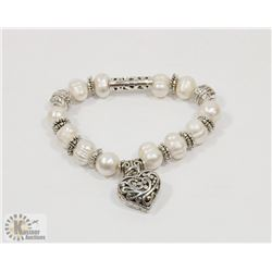 #51-FRESH WATER PEARL WITH HEART SHAPE BRACELET