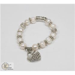 #52-FRESH WATER PEARL WITH HEART SHAPE BRACELET