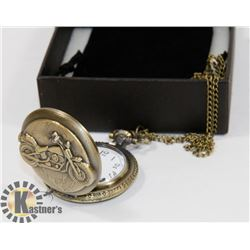 NEW BRONZE POCKET WATCH MOTORCYCLE FACE BRONZE CHA