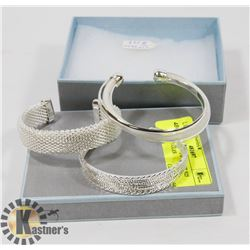 NEW 3 PC ASSORTED SILVER 925 PLATED BANGLES