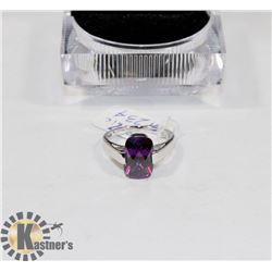 NEW STERLING 925/SLVR RING SZ 7 CUBIC PURPLE STONE