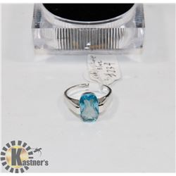 NEW STERLING 925/SILVER RING SZ 7 CUBIC BLUE STONE