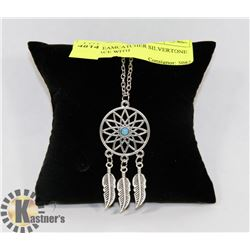 NEW DREAMCATCHER SILVER TONE NECKLACE WITH