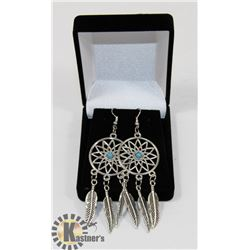 NEW DREAMCATCHER SILVER TONE EARRINGS WITH