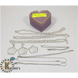 HEART SHAPE BOX FULL OF PENDANTS AND NECKLACES