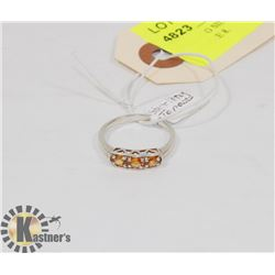 STERLING SILVER ORANGE TOPAZ RING SIZE 8.
