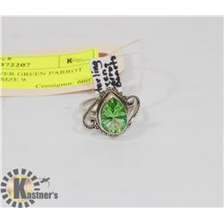 STERLING SILVER GREEN PARROT QUARTZ RING SIZE 9.