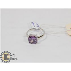 STERLING SILVER AMETHYST RING SIZE 9.