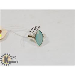 STERLING SILVER AQUA CHALCEDONY RING SIZE 7.75.