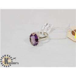 STERLING SILVER AMETHYST RING SIZE 8.