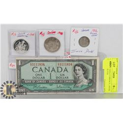 LOT OF CANADA CURRENCY, 1954 $1 BILL, 1912 SILVER
