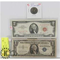 LOT OF USA CURRENCY, 1941 GEORGE WASHINGTON