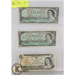 LOT OF 3 CANADA $1 BILLS, 1954, 1967, 1973