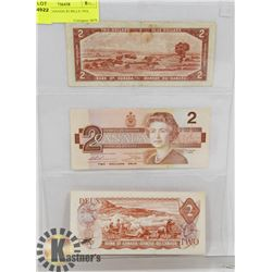 LOT OF 3 CANADA $2 BILLS 1954, 1974, 1986
