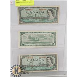 LOT OF 3  CANADA  1954 $1 BILLS