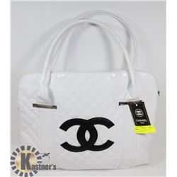 CHANEL REPLICA WITH BLACK LOGO, WHITE BAG