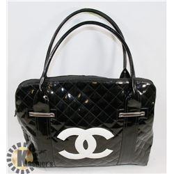CHANEL REPLICA WITH WHITE LOGO, BLACK BAG