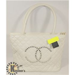CHANEL REPLICA CREAM PURSE JEWEL LOGO