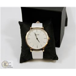 NEW KEZZI WATCH GENUINE LEATHER WHITE STRAP